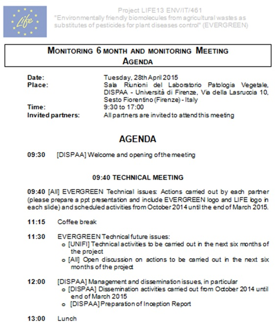 Agenda monitoring meeting 6 month